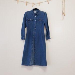 Western denim chambray duster dress petite
